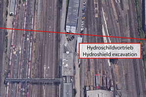 """<div class=""""bildtext_en"""">DN 2500 pipe jacking section with hydroshield machine beneath railway track</div>"""
