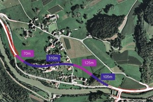 """<div class=""""bildtext_en"""">Aerial view of the route with the cut-and-cover and trenchless part-sections [1].</div>"""