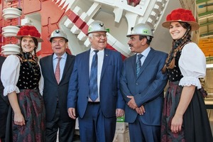 "<div class=""bildtext_en"">The former German Chancellor Gerhard Schröder together with Herrenknecht AG founder and Chairman of the Board of Management Martin Herrenknecht and Jassim Saif Ahmed Al Sulaiti, Transport Minister of Qatar in front of the TBM Lehwaila , one of 15 TBMs for the Doha Metro</div>"