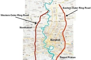 Map showing Outer Ring Road (possible route for Multi-Service Flood Tunnel System)