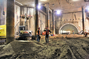 """<div class=""""bildunterschrift_en"""">View of the roughwork for an underground station after removal of the temporary steel fibre concrete segments</div>"""