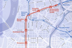 """<div class=""""bildunterschrift_en"""">Route alignment of the existing Metro lines as well as the new Wehrhahn Line (red marking)</div>"""