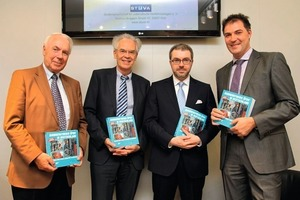 Book presentation at the InnoTrans 2012 ( from left to right: Prof. Günter Girnau, honorary board member of STUVA, Prof. Adolf Müller-Hellmann, head of the VDV-Förderkreis, Regierungsdirektor Marc Andor Lorenz, Federal Ministry for Transport, Building and Urban Affairs, Department UI 31, Dr.-Ing. Dirk Boenke, group manager for Transport and Environment, STUVA<br />