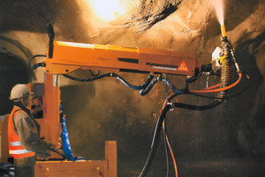 Remote-controlled spraying boom Sika-FM 407 for securing rock with shotcrete when tunnelling underground