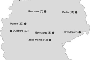 """<div class=""""bildtext_en"""">Overview of various tunnel control centres in Germany with the appropriate number of tunnels being monitored. The specific demands placed on the operating staff confronted with a growing number of monitored tunnels were investigated within the scope of the ESIMAS research project</div>"""