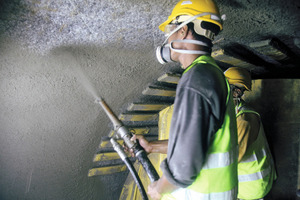 A novel type of polypropylene fiber shotcrete is being applied as the primary means of ground support - a mixture that reduces rebound