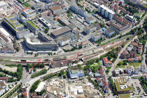 "<span class=""child"">Construction works at the Stuttgart-Feuerbach railway station for channelling future</span><span class=""child""> long distance trains into the Feuerbach Tunnel, which will lead to the new Stuttgart Central Station 