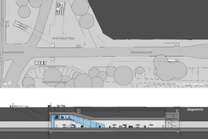 7 Graf-Adolf-Platz Metro Station with ground plan/section (left) and 3-D architectural model (right)<br />
