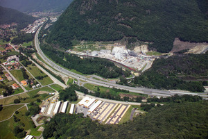 The Sigirino construction site seen from the air<br />