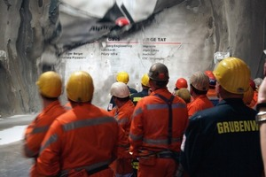 The moment of the 9.4 m diameter tunnel-boring machine's breakthrough in the eastern bore after completion of the two southern lots of the 57 km Gotthard Base Tunnel