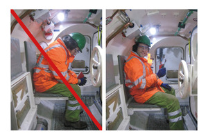 """<div class=""""bildtext_en"""">8) Incorrect (left) and correct posture (right) during decompression 
