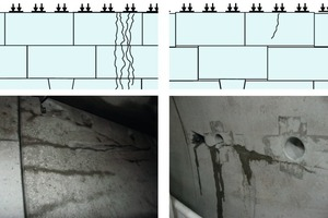 a) Cluster cracks	b) Random single cracks<br />Two types of the cracks were observed in segmental lining