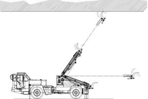 """<div class=""""bildtext"""">Paus Uni 50 Beraubefahrzeug für das schälende Berauben. Das hydraulisch bewegliche Werkzeug kann auch zum Aushebeln von Gesteinsbrocken genutzt werden. Es ist ein direkter mechanischer Arbeitsansatz, ähnlich dem Arbeiten mit einer Brechstange. Der Einsatz solcher Fahrzeuge beschränkt sich daher normalerweise auf weiche Gesteinsarten, insbesondere Kali- oder Salzgruben wo auch häufiges Nachreißen erforderlich sein kann</div>"""