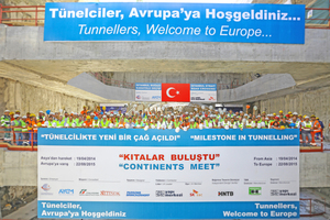 "<div class=""bildtext_en"">On August 22 the tunnellers could celebrate the breakthrough of Istanbul's Eurasia Tunnel on the European side. The successfully completed drive marks new feasibility standards in tunnel construction</div>"