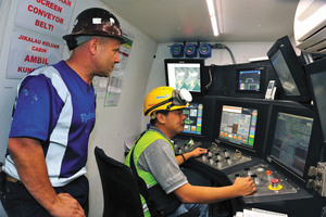 Operator's cabs with touch screens and extensive monitoring software enabled operators to analyze trends in machine performance <br />