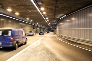 2  View into the Richard Strauss Tunnel in Munich coping with 90,000 vehicles per day – well lit<br />