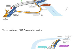 Traffic setup 2012 on working days between 8 pm and 6 am (left) and for a weekend closure (right)