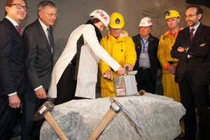 "<div class=""bildtext_en"">EU transport commissioner Violeta Bulc initiated the first round of blasting on March 19, 2015. This heralded the driving operations in the Innsbruck Ahrental for the Brenner Base Tunnel's first tunnel bore</div>"