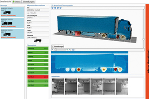 """<div class=""""bildtext_en"""">The software generates an image of the vehicle with the temperatures of all components from the 3D models provided by the laser scanner and the temperature profiles of the infrared line cameras</div>"""