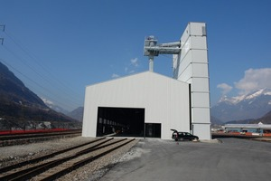 4Concrete plant with multi-chamber silo for producing concrete on the Biasca installation yard<br />