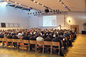 View of the lecture hall at the Alpbach Congress Centre in Tyrol during the International Shotcrete Exhibition