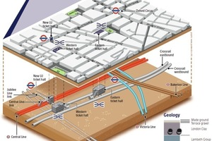 """<div class=""""bildtext_en"""">Interim state of construction at Bond Street Station with western and eastern platform tunnels [5]</div>"""