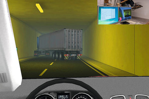 "<div class=""bildunterschrift_en"">Screen shot of the virtual driving training. A participant in a driving simulator is shown in the right upper edge of the picture. A so-called head mounted display places him in the virtual world and he can navigate within the virtual world with control elements</div>"
