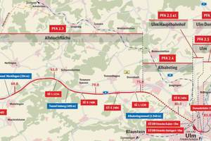 """<div class=""""bildtext_en"""">2)Overview of the eastern part of the new rail route with plan approval section PFA 2.3 