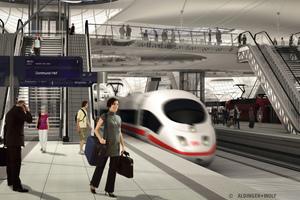 Interior view of Stuttgart Central Station as a deep-lying through station – Stuttgart 21
