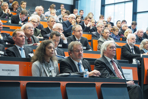 """<div class=""""bildtext_en"""">150 guests took part in the Forum on Tunnelling of the RWTH Aachen University. Front row, from left: Sonja Ziegler, Prof. Martin Ziegler, Prof. Aloys Krieg</div><div class=""""bildtext_en""""></div>"""