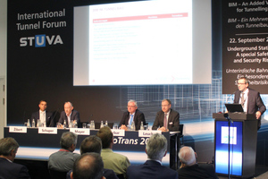 """<div class=""""bildtext_en"""">The discussion partners at the STUVA International Tunnel Forum on BIM in Tunnelling (from the left): Dipl.-Ing. Marko Žibert, Dipl.-Ing. Dirk Schaper, Dipl.-Ing. (ETH) Heinz Ehrbar, Dr.-Ing. Roland Leucker and Dr.-Ing. Peter-Michael Mayer</div>"""