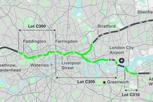 """<div class=""""bildtext"""">Die derzeitigen Crossrail-Tunnelbaustrecken, in grün hervorgehoben </div>"""