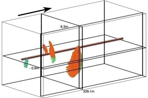 6  Example of a 3D cube: marked here is the reflector for the shaft SA12 at TM 339.1 on the right outside the route (please also see Figs. 7 + 8). The tunnel axis is presented in the form of a red line, the arrow shows the direction of the drive