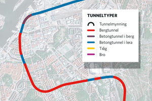 "<div class=""bildtext_en"">	Overview of the West Link</div><div class=""bildtext_en"">	Blue = concrete tunnel built in fill/soil; red = tunnel built in rock; purple = bridge; blue/red = concrete tunnel in rock; yellow = trough structure</div>"