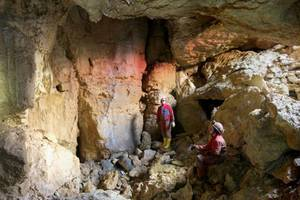 """<div class=""""bildtext_en"""">15)The largest karst cavity found so far on the construction sites for the Alb plateau was discovered at the Widderstall Tunnel 