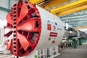 Montierter EPB-Schild (6,1 m Durchmesser) für die Erweiterung der U-Bahn-Linie A im Herrenknecht-Werk in Deutschland
