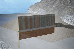 """<div class=""""bildtext_en"""">2)The new waterproofing system of the dam, consisting of waterproofing core, drainage piles and seepage water tunnel 