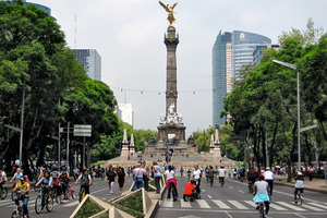 """The """"El Angel"""" statues with its deep foundations appears to """"grow"""" high above its surroundings although really the rest is sinking<br />"""