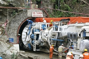 """<div class=""""bildtext_en"""">A Robbins Main Beam Machine was launched in 2007 to bore Peru's Olmos Trans-Andean Tunnel, the world's second deepest civil works tunnel, below 2000 m of rock</div>"""
