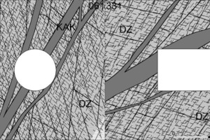 """<div class=""""bildtext_en"""">Comparison of predicted (on the left) and updated (on the right) models of the fault zone SZ-IQP-AS-1. Here means DZ = Damage Zone, fg = Fault Gouge and prc = Protokataklasit (Both cases show a west-dipping fault; the point of view parallel to the direction of excavation is reversed)</div>"""