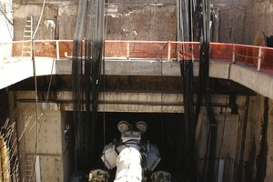 4Excavation with the TBM began from a shaft using umbilical cables attached to back-up decks on the surface<br /><br />