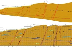 """<div class=""""bildtext_en"""">Comparison of the longitudinal profile in the forecast (below, [8]) and the updated profile after excavation of the 2400 m long Ahrental access tunnel (above, [9])</div>"""