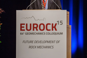 "<div class=""bildtext_en"">Prof. Dr. Wulf Schubert greeted more than 1400 participants to Eurock 2015 and the 64<sup>th</sup> Geomechanics Colloquium</div>"