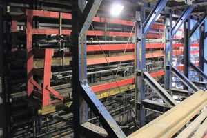 """<div class=""""bildtext_en"""">The tunnel formwork carriage comprising the beam scaffolding system SL-1 can be optimally loaded in static terms. The high loads transferred from the wall and floor only need 5 cross segments of 10.50 m per formwork carriage length.</div>"""
