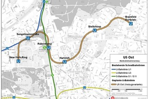 """<div class=""""bildtext_en"""">Provisional route alignment for the U5 East in Hamburg, following conclusion of the feasibility studies</div>"""