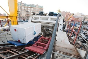 """<div class=""""bildunterschrift_en"""">The solution for transporting material given a 30° incline: a system with 2 winches and trackbound cars</div>"""