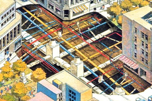 """<div class=""""bildunterschrift_en"""">The diagram displays the tightly-knit pipe and sewer network in conjunction with the new Metro line and at the same time just how complex it is to set up a Metro station at such an intersection</div>"""