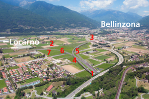 "<div class=""bildtext_en"">The Camorino Node, surface lines at the north portal of the Ceneri Base Tunnel</div><div class=""bildtext_en"">1) Ceneri Base Tunnel, north portal; 2) Bellinzona to Locarno/Luino rail line; 3) four-track bridge over the A2 autobahn; 4 + 5) single-track rail viaducts; 6) four-lane regional-road underpass; 7) rail line to Locarno</div>"