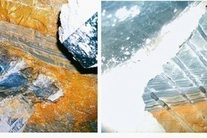 Bit tracks on rock with mineralogical cohesion (monadnock) with corresponding chip and rock flour formation; left<br />Shiny bit tracks in intensely weathered clay that has been pressed away; right<br />