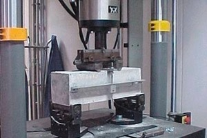 Beam test: four-point bending test (left) and view in principle of the three-point bending test (right)